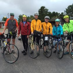 Bikers pose for photo on tour of Blue Ridge Parkway