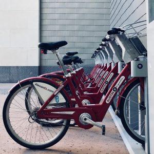 bike rack lined up