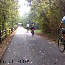 Biker on bike trail in Annapolis, Maryland