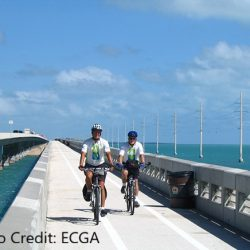 2 people biking over bridge