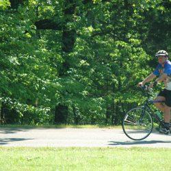 Biker on east coast greenway bike tour
