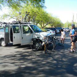 van with bikers