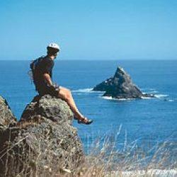 man sitting on an ocean overlook