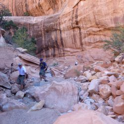 People hiking in a canyon