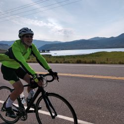 Fast riding along Lake Granby in northern Colorado