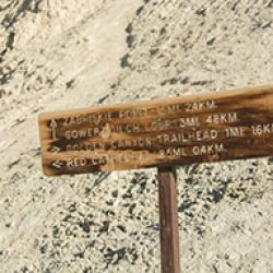 Trail sign in death valley