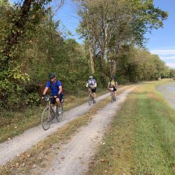 Bikers on wooded trail on east coast bike tour