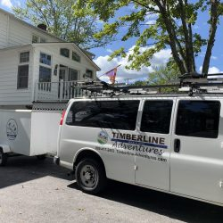 Biking van trailer on East Coast Greenway biking trip in New Hampshire