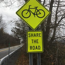 Biking sign in Pennsylvania on east coast biking tour