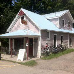 Pink house rest stop on east coast bike trip