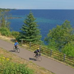 The Gitchi Gammi bike path takes riders along the shores of Lake Superior