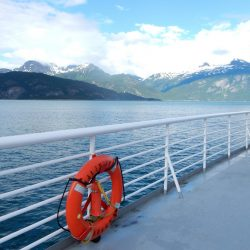 Alaska ferry with view of the bay