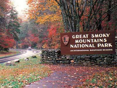 Entering Great Smoky Mountains National Park in fall colors