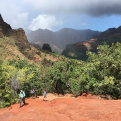Hiking into Waimea Canyon on the Kukui Trail, Kauai, Hawaii