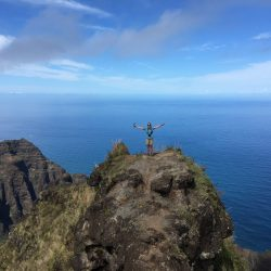 End of the Awa'awa'puhi trail overlooking the Napali coast on Kauai