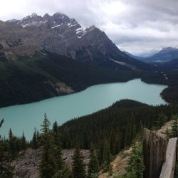 Lake Louise shines turquoise amid the majestic peaks of the Canadian Rockies