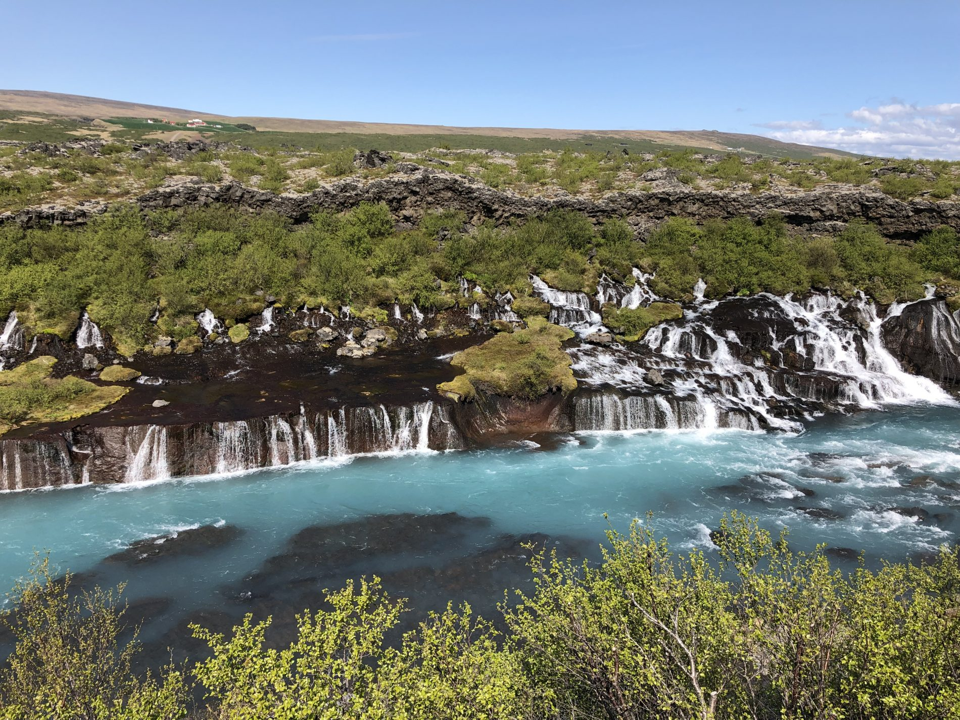 Hraunfossar Waterfall in western Iceland