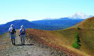 2 people travel hiking Lassen