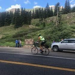 Biker on a mountain street