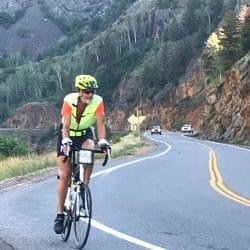 Biker on mountain road