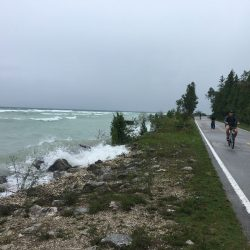 Cycling along the bicycle only road on Mackinac Island