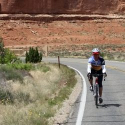 Cycling through Arches National Park near Moab, UT