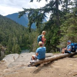 Hikers on a trail in North Cascades National Park