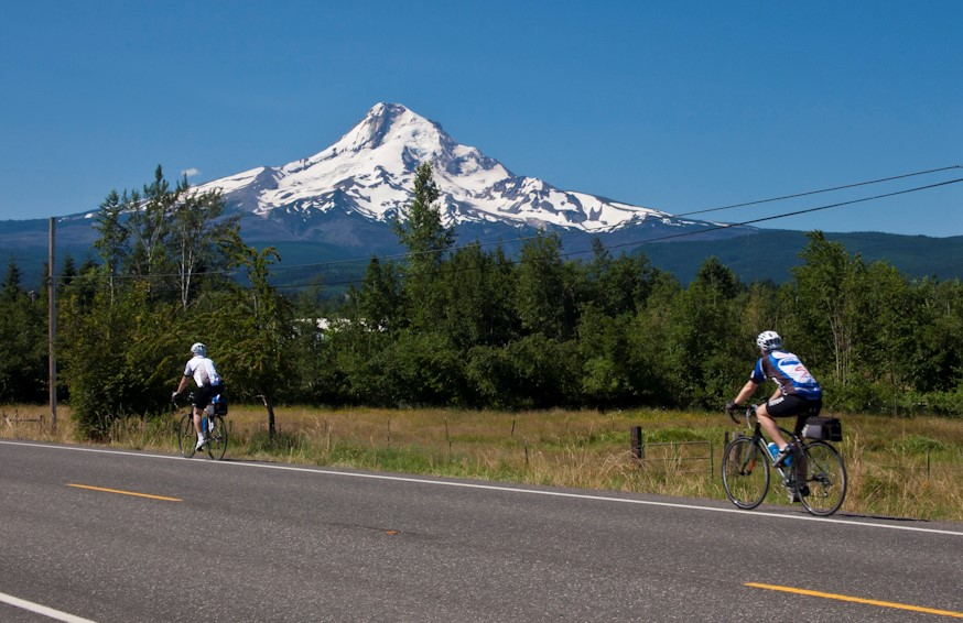 Cycling the Columbia River Gorge under the shadow of Mt Hood