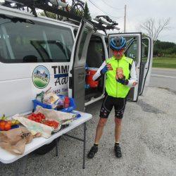 Biker having snack on east coast bike tour