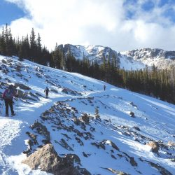 Snowshoers on a trail in Rocky Mountain National Park