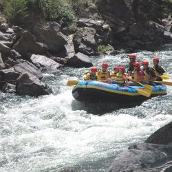 Large group of people white water rafting