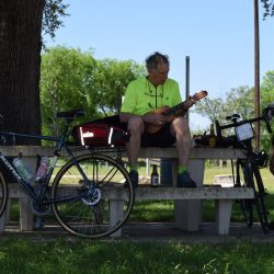 Ukulele stop while cycling in Center Point, Texas