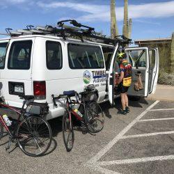 white van with bikes