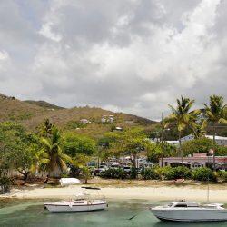 Island beach with boats