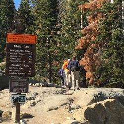 Sign on hiking trail in Yosemite National Park