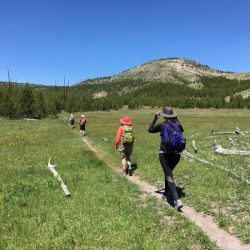 Two hikers on a trail in Yellowstone National Park