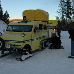 A ride on the Old Bombadier shuttle into Yellowstone National Park in winter