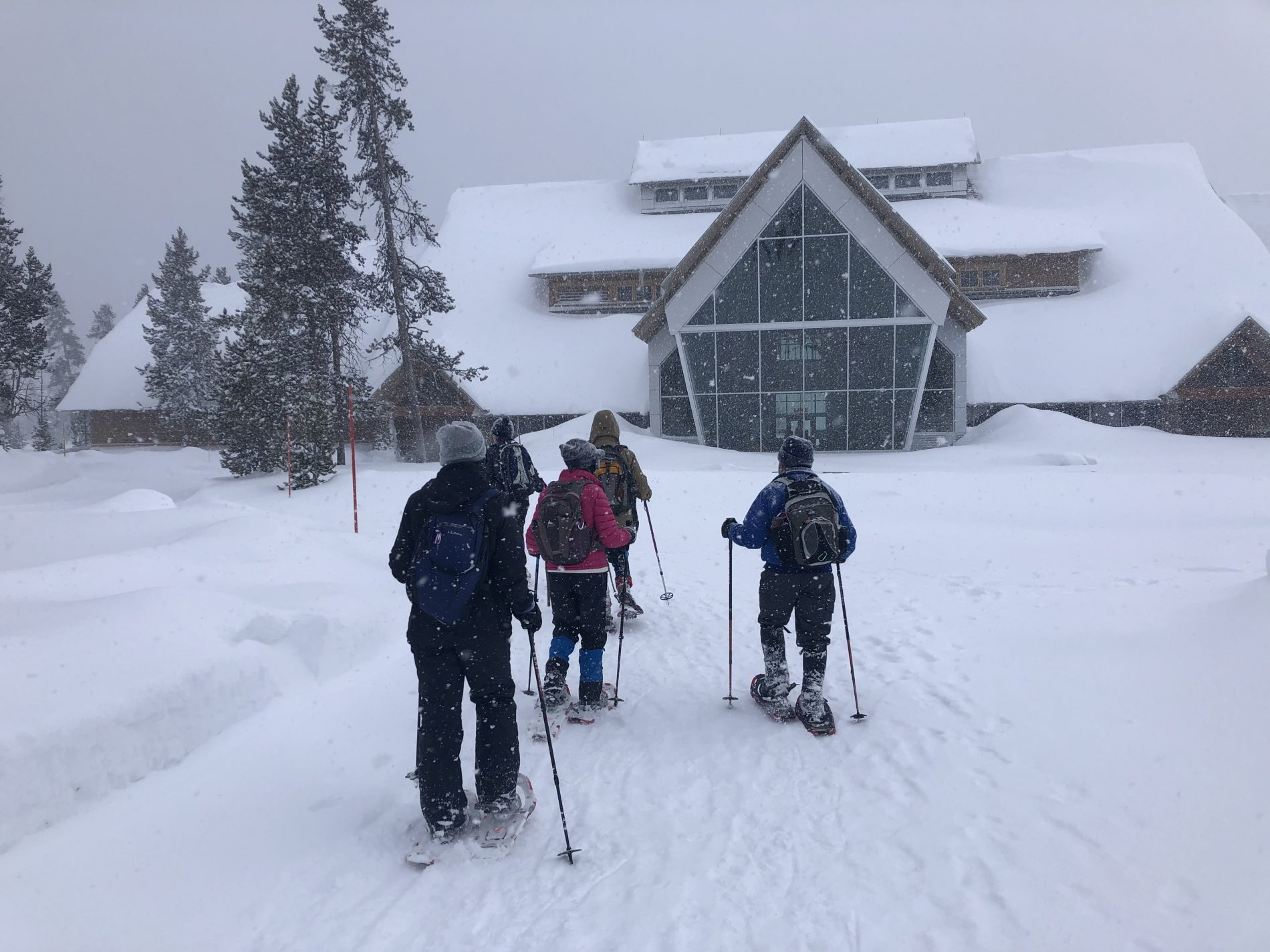 Winter scene at the Old Faithful Visitor Center in Yellowstone National Park