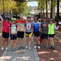 group of cyclists on guided tour