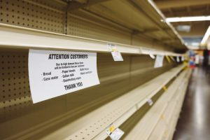 empty shelves during new normal of coronavirus