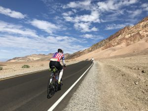 cyclist in death valley