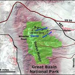 Elevation map of Great Basin National Park