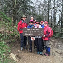 hikers in front of a trail sign