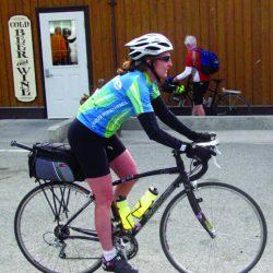 Biker on bike tour along Blue Ridge Parkway